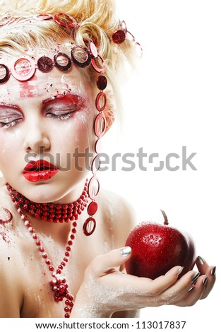 Christmas Winter Fairy woman with red apple