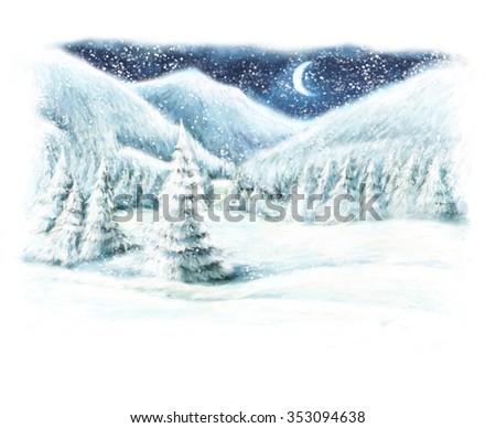 Christmas winter happy scene - illustration for the children - stock photo