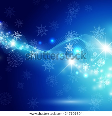 Christmas Winter Holiday Abstract Background With Snowflakes, Lights and Stars  - stock photo