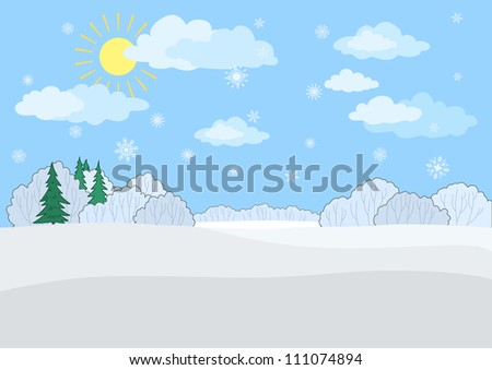 Christmas winter landscape: a blue sky with the sun and snowflakes, snow-covered forest