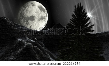 Christmas winter landscape in the mountains at night. A full moon and a starry sky with Christmas Star - stock photo