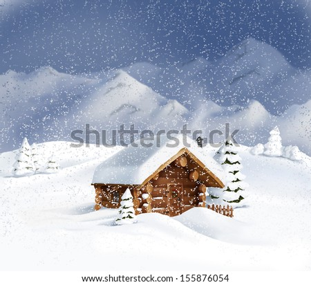 Christmas winter landscape - wooden hut, snow, pine trees, mountains. Copy space, illustration - stock photo