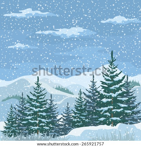 Christmas Winter Mountain Landscape with Firs Trees, Sky with Snow and Clouds