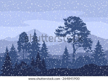 Christmas Winter Mountain Landscape with Pine and Fir Trees, Sky with Snow and Clouds - stock photo