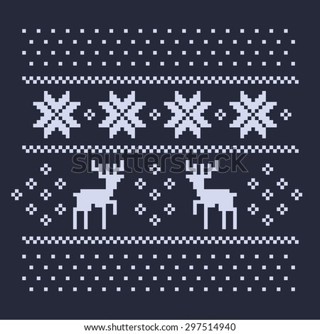 christmas winter pattern print for jersey or t-shirt. Pixel deers and snowflakes on the dark blue background - stock photo