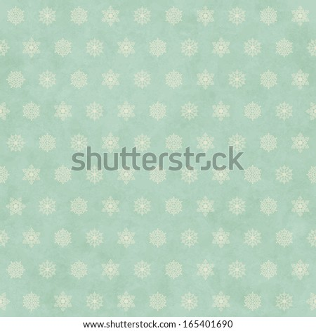 Christmas winter retro seamless pattern background with snowflakes on subtle grunge paper texture. Holiday vintage backdrop - stock photo