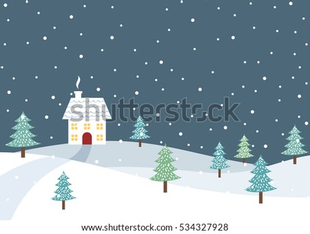 Christmas winter rural landscape with single home