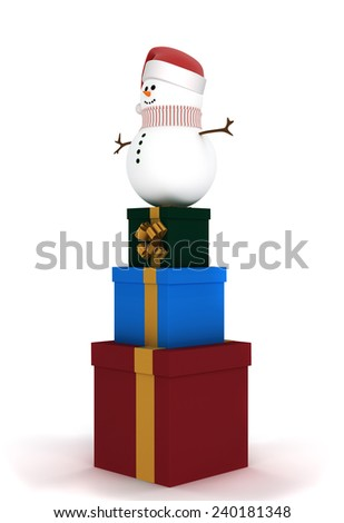Christmas winter sale. Snowman in a hat of Santa Claus standing on a set of gift boxes - stock photo