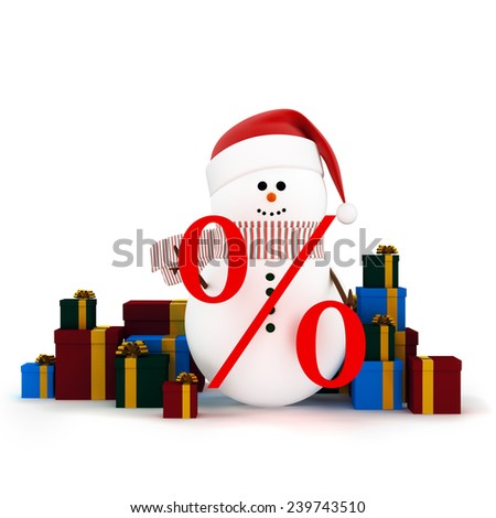 Christmas winter sale. Snowman in a hat of Santa Claus surrounded by gift boxes. Holding a sign of discount  in hands - stock photo