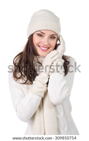 Christmas winter woman in warm clothing, isolated on white