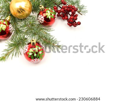 Christmas with a red and yellow ornament, fir leaves