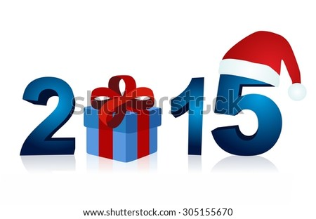 Christmas 2015 with blue gift box and santa claus cap - stock photo