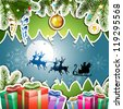 Christmas with gifts and Santa sleigh - stock photo