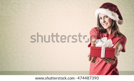 Christmas woman holding gifts