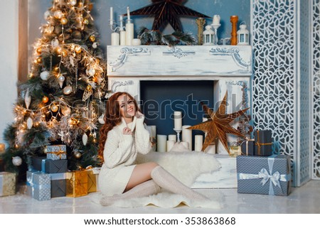 christmas woman in home interior