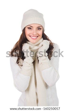 Christmas woman in warm clothing, isolated on white