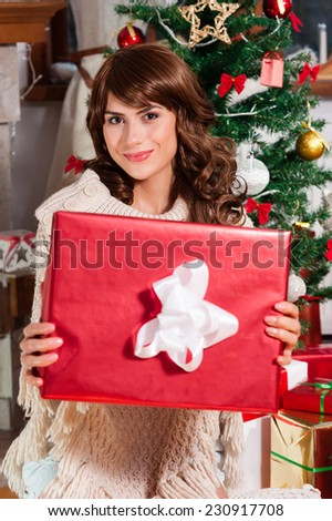 Christmas woman portrait hold red christmas gift over living room - stock photo