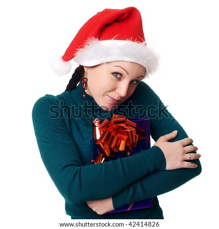 Christmas woman smiling. Over white background