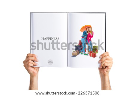 Christmas women with umbrella printed on book