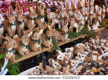 Christmas wooden animal toys. Nuremberg's Christmas Market, one of Germany's oldest Christmas fairs. Bavaria, Germany