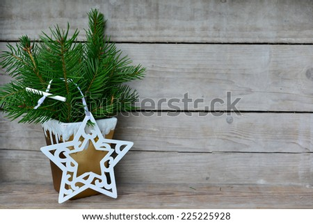 Christmas wooden background nature - stock photo