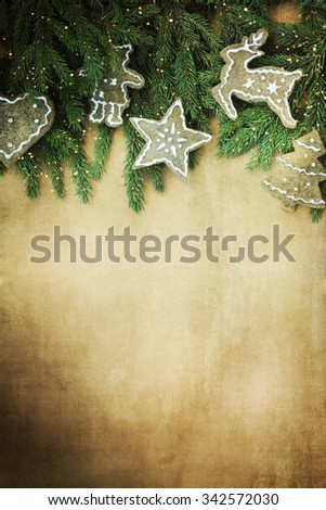 Christmas wooden background with gingerbreads