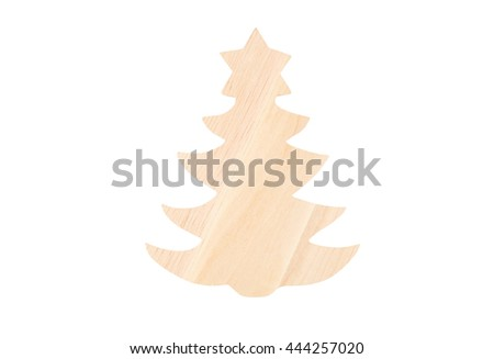 Christmas wooden fir tree, isolated on white background - stock photo