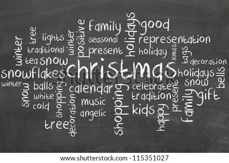 christmas word cloud on blackboard
