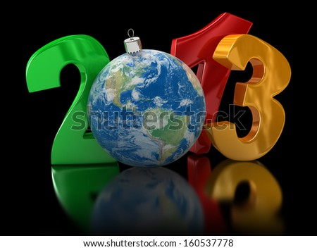 Christmas world 2013  (clipping path included). Earth map provided by NASA - stock photo