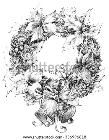 Christmas wreath, Christmas tree, Christmas flower, mistletoe decoration sketch for New Year background