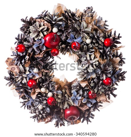 Christmas wreath decoration isolated on white background - stock photo