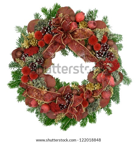 Christmas wreath for door decoration, isolated on white. - stock photo
