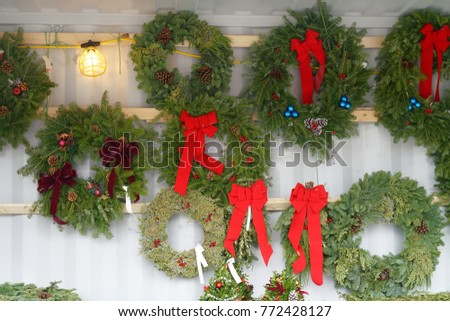 Christmas wreath for sale in the farm market