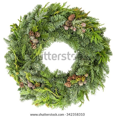 Christmas wreath from fir, pine and spruce twigs with cones isolated on white background. Festive decoration - stock photo