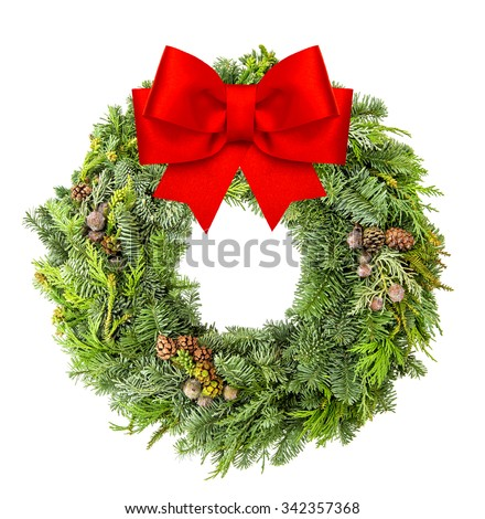 Christmas wreath from fir, pine and spruce twigs with red ribbon isolated on white background - stock photo