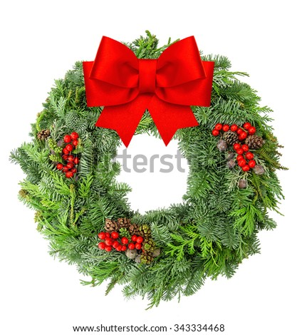 Christmas wreath from spruce, pine and fir twigs with red ribbon bow isolated on white background. - stock photo