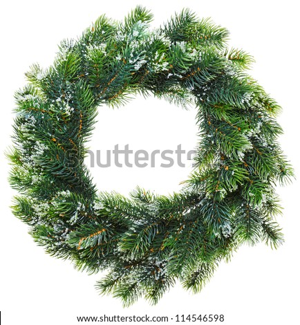 Christmas wreath, isolated on white - stock photo