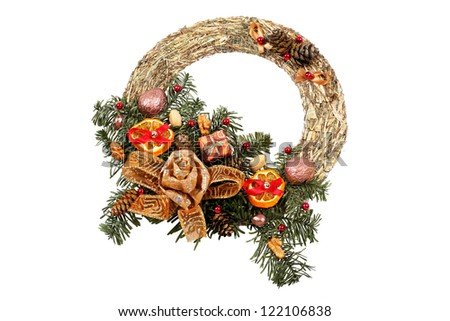 Christmas wreath isolated on white with clipping path - stock photo