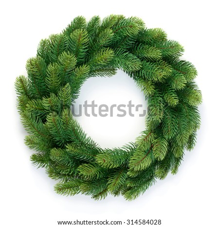 Christmas wreath of evergreen isolated on white background - stock photo