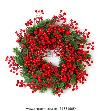 Christmas wreath of holly berries and evergreen isolated on white background - stock photo