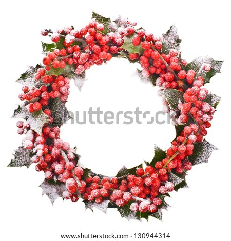 Christmas wreath of nature leaves and berries holly ilex isolated on white background. - stock photo