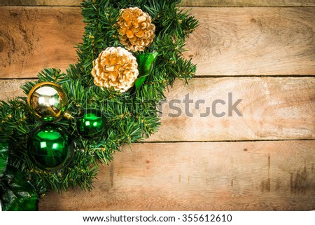 Christmas wreath  on wood