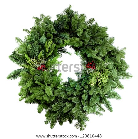 Christmas wreath with assorted evergreen boughs on white - stock photo