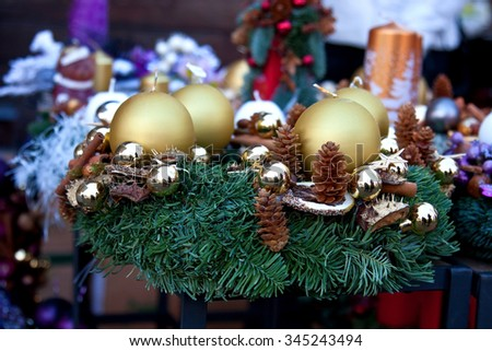 Christmas wreath with  bauble decorations, pine cones and  spruce fir  - stock photo