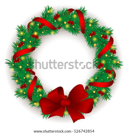Christmas wreath with baubles and christmas tree.