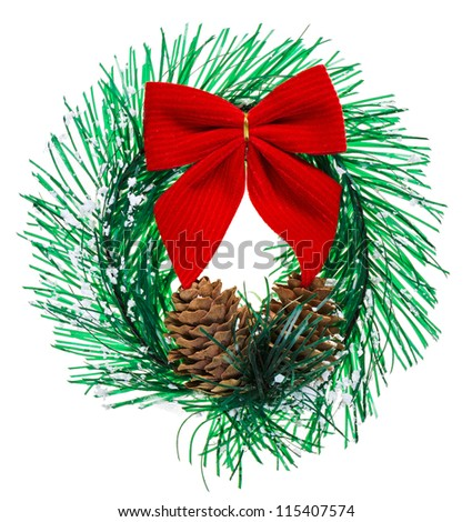 Christmas wreath with cones and red bow, isolated on white - stock photo