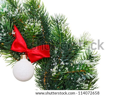 Christmas wreath with decoration ball, isolated on white - stock photo