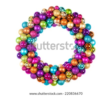 christmas wreath with decoration balls isolated on white background - stock photo