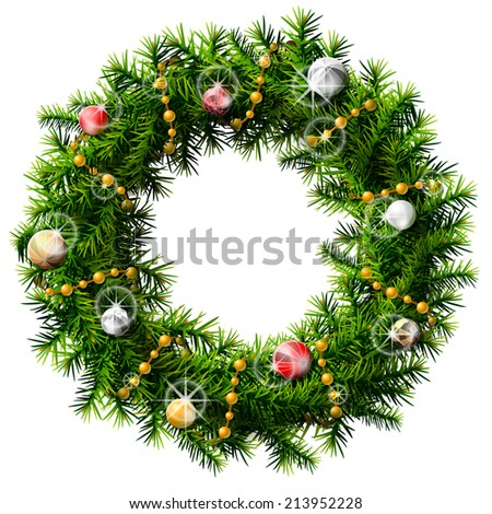 Christmas wreath with decorative beads and balls. Decorated wreath of pine branches. Illustration for new year's day, christmas, decoration, winter holiday, design, new year's eve, silvester, etc - stock photo