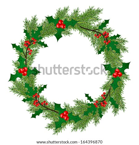 Christmas wreath with fir branches and holly isolated on white background - stock photo